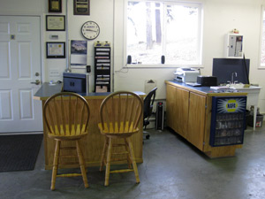 Office area of Brent's Autoworks